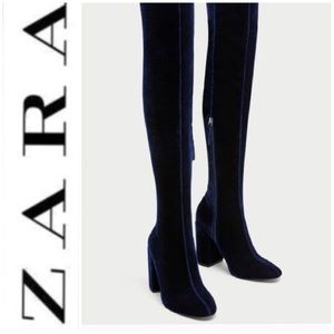 🆕 NWT ZARA Over The Knee Velvet Boots Cobalt Blue